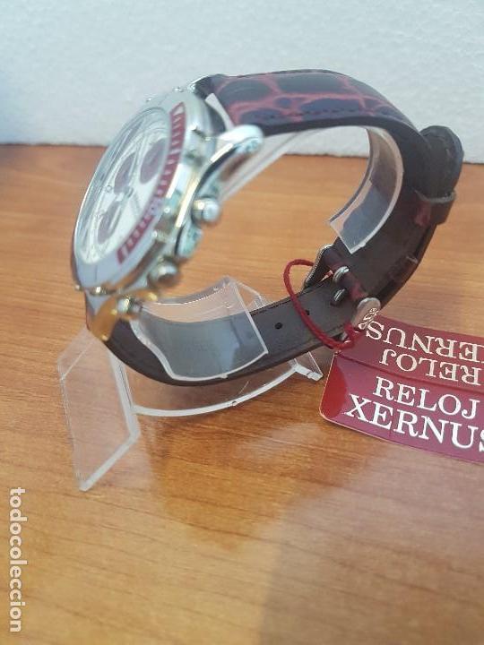 Relojes: Reloj caballero Xernus acero cronografo, bisel giratorio, calendario a las tres, correa cuero nueva - Foto 4 - 133161038