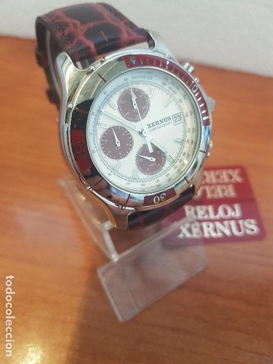 Relojes: Reloj caballero Xernus acero cronografo, bisel giratorio, calendario a las tres, correa cuero nueva - Foto 5 - 133161038