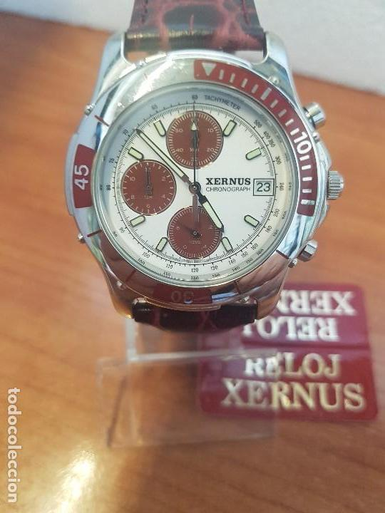 Relojes: Reloj caballero Xernus acero cronografo, bisel giratorio, calendario a las tres, correa cuero nueva - Foto 6 - 133161038