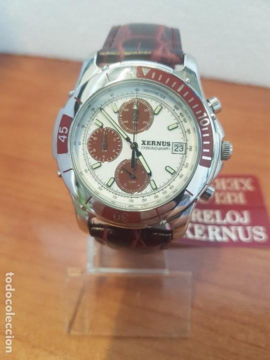 Relojes: Reloj caballero Xernus acero cronografo, bisel giratorio, calendario a las tres, correa cuero nueva - Foto 7 - 133161038