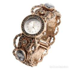 Relojes: ANTIGUO RELOJ BRAZALETE EN ORO VIEJO DE 18K CON DIAMANTES NEGROS ESTILO ISABELINO. Lote 133235582