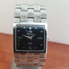 Relojes: RELOJ SEÑORA MAREA CUARZO DE ACERO CON ESFERA NEGRA CORREA DE ACERO ORIGINAL, RELOJ DE STOCK TIENDA. Lote 133381422
