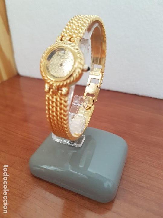 Relojes: Reloj señora (Vintage) ORIENT chapado de oro de cuarzo esfera color oro, correa de acero chapado oro - Foto 11 - 133384862