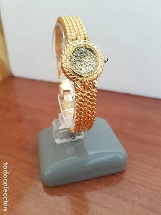Relojes: Reloj señora (Vintage) ORIENT chapado de oro de cuarzo esfera color oro, correa de acero chapado oro - Foto 12 - 133384862
