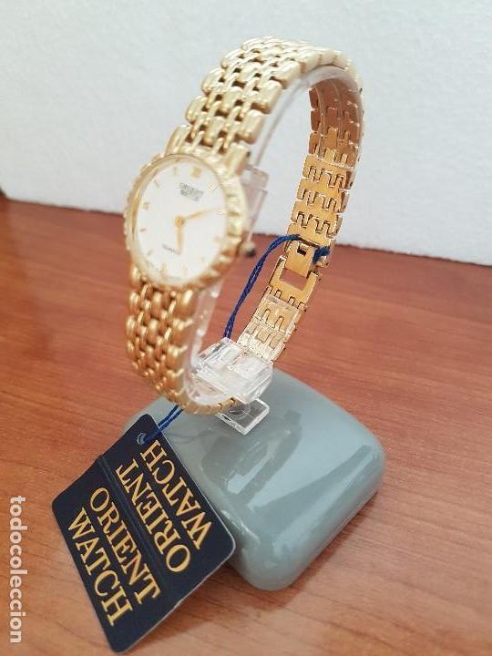 Relojes: Reloj señora ORIENT de cuarzo chapado de oro, correa de acero chapado de oro, reloj stock relojeria - Foto 2 - 133389282