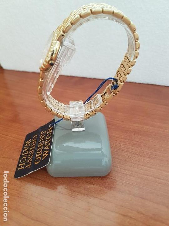 Relojes: Reloj señora ORIENT de cuarzo chapado de oro, correa de acero chapado de oro, reloj stock relojeria - Foto 6 - 133389282