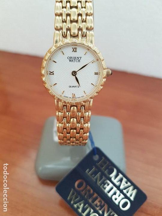 Relojes: Reloj señora ORIENT de cuarzo chapado de oro, correa de acero chapado de oro, reloj stock relojeria - Foto 9 - 133389282