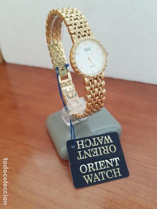Relojes: Reloj señora ORIENT de cuarzo chapado de oro, correa de acero chapado de oro, reloj stock relojeria - Foto 10 - 133389282