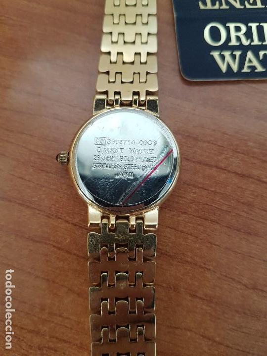 Relojes: Reloj señora ORIENT de cuarzo chapado de oro, correa de acero chapado de oro, reloj stock relojeria - Foto 11 - 133389282