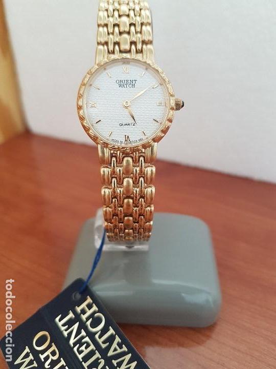 Relojes: Reloj señora ORIENT de cuarzo chapado de oro, correa de acero chapado de oro, reloj stock relojeria - Foto 12 - 133389282
