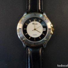 Relojes: RELOJ CORREA CUERO NEGRO ACERO Y ORO. THERMIDOR. CALENDARIO. QUARTZ. SIGLO XXI. Lote 138615514