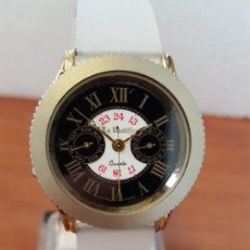 Relojes - Reloj caballero LA BASTILLE, cuarzo módulo Suizo, chapado de oro, bisel giratorio, correa silicona - 138763550