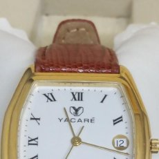 Relojes: EXCLUSIVO RELOJ YACARÉ ORO. CORREA DE PIEL DE YACARÉ. SUMERGIBLE 3 ATM. SIN USOS.. Lote 139810674
