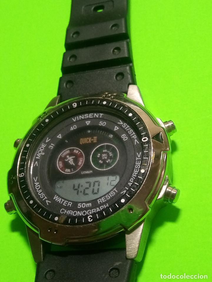 Relojes: RELOJ VINSENT. MULTIF. DIAL GIRATORIO. BATERIA. FUNCIONANDO. ACERO. 41 MM. S/C. INFO EN DESCRIPCION - Foto 9 - 139933314