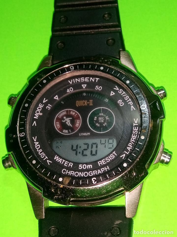 RELOJ VINSENT. MULTIF. DIAL GIRATORIO. BATERIA. FUNCIONANDO. ACERO. 41 MM. S/C. INFO EN DESCRIPCION (Relojes - Relojes Actuales - Otros)