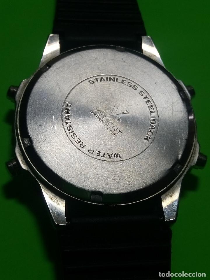 Relojes: RELOJ VINSENT. MULTIF. DIAL GIRATORIO. BATERIA. FUNCIONANDO. ACERO. 41 MM. S/C. INFO EN DESCRIPCION - Foto 4 - 139933314