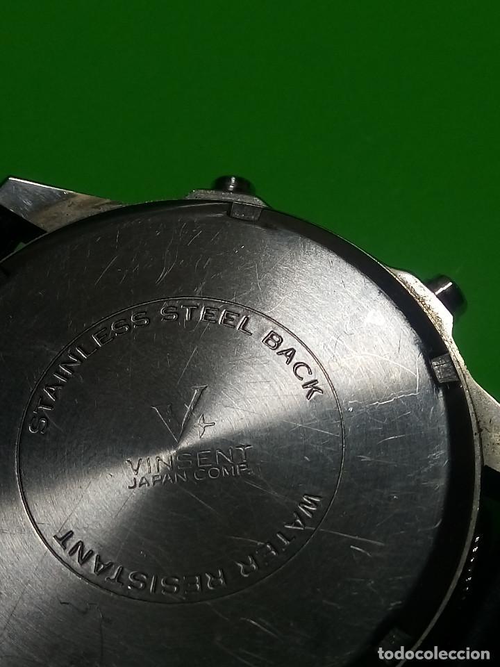 Relojes: RELOJ VINSENT. MULTIF. DIAL GIRATORIO. BATERIA. FUNCIONANDO. ACERO. 41 MM. S/C. INFO EN DESCRIPCION - Foto 5 - 139933314
