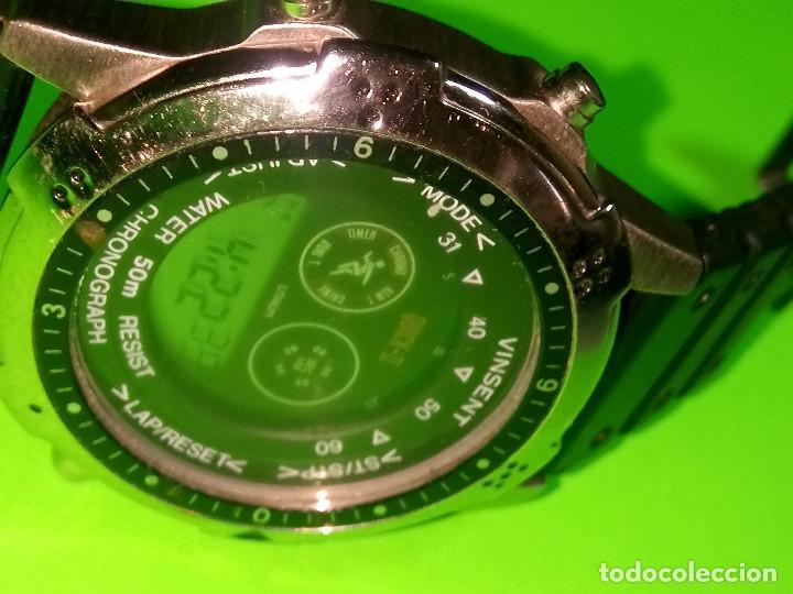 Relojes: RELOJ VINSENT. MULTIF. DIAL GIRATORIO. BATERIA. FUNCIONANDO. ACERO. 41 MM. S/C. INFO EN DESCRIPCION - Foto 8 - 139933314