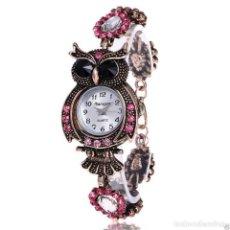 Relojes: RELOJ BRAZALETE RETRO, FORMA DE BUHO, EN COLOR BRONCE Y DIAMANTES DE IMITACION. Lote 140382874