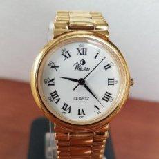 Relojes: RELOJ CABALLERO DE CUARZO MARCA MICRO CHAOADO DE ORO CON CORREA ACERO CHAPADA ORO DE STOCK RELOJERIA. Lote 142225198