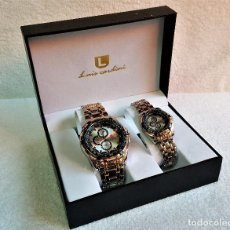 Relojes: BONITA PAREJA DE RELOJES LUIS CARDINI - SIN USO EN ESTUCHE O CAJA ORIGINAL - METAL QUARTZ . Lote 142894914