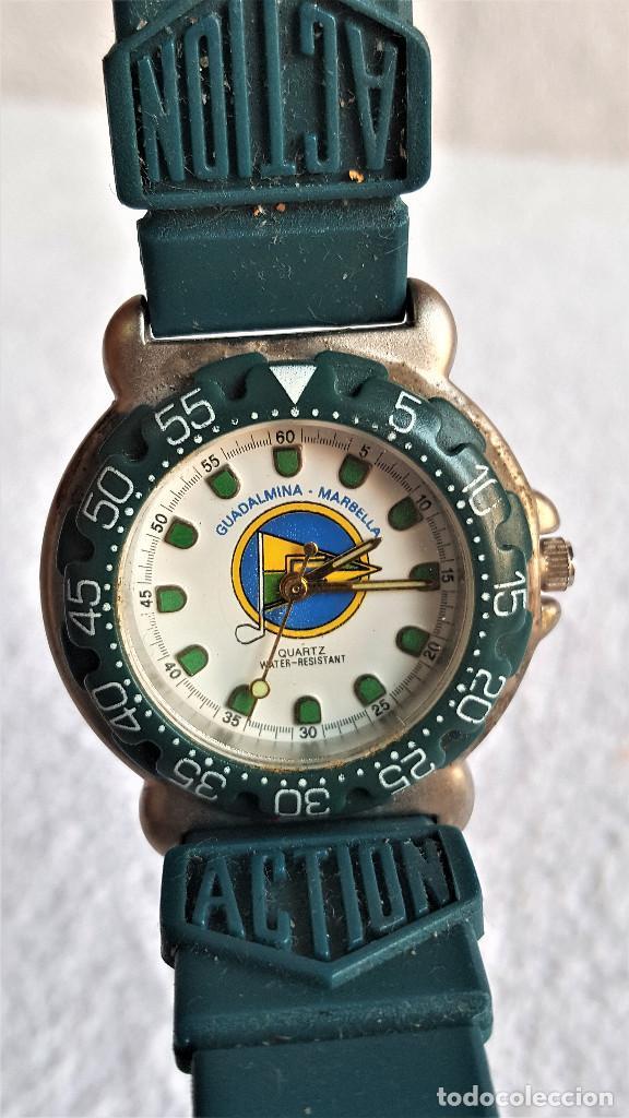 RELOJ SPORT QUARTZ GUADALMINA MARVELLA - 22.CM LARGO - ESFERA 2.5.CM DIAMETRO - METAL Y BANDA GOMA (Relojes - Relojes Actuales - Otros)