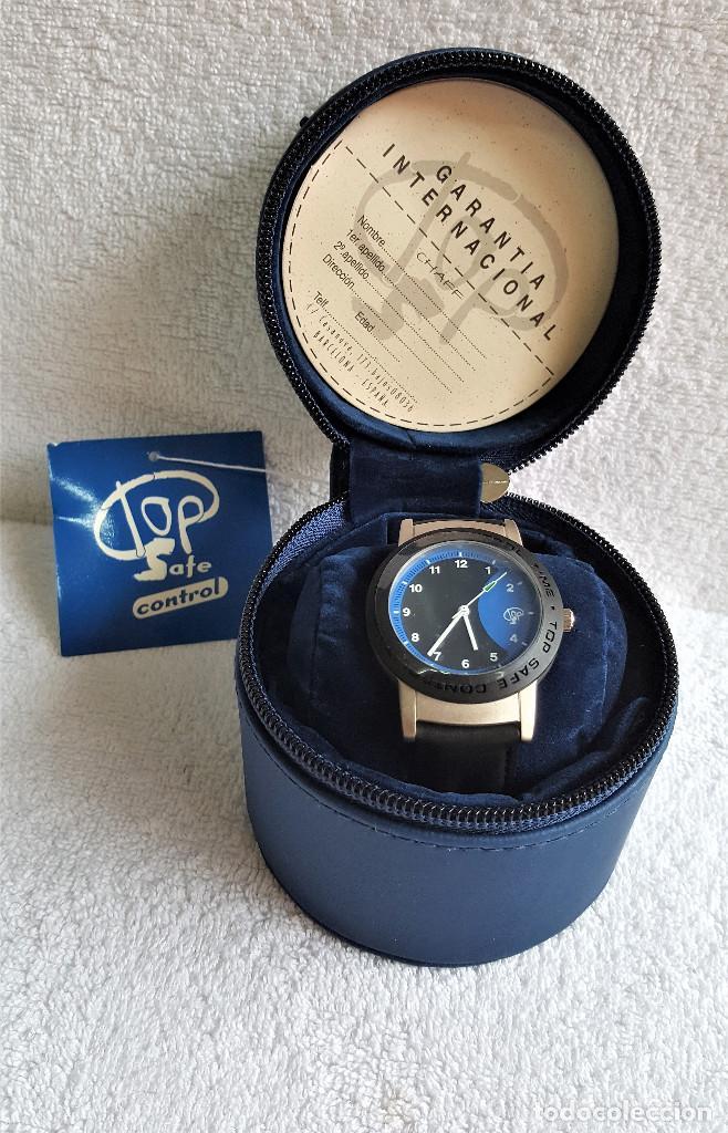 RELOJ TOP SAFE CONTROL EN ESTCHE SIN USO - ESFERA 2.8.CM DIAMETRO BANDA DE MATERIAL (Relojes - Relojes Actuales - Otros)