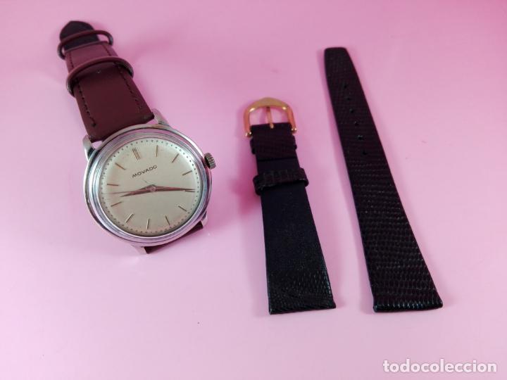 RELOJ-MOVADO-CUERDA-37 MM.TOTAL-BUEN ESTADO GENERAL-2 CORREAS-1 PIEL DE LAGARTO NEGRA-VER FOTOS (Relojes - Relojes Actuales - Otros)