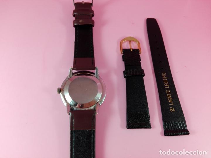 Relojes: RELOJ-MOVADO-CUERDA-37 MM.TOTAL-BUEN ESTADO GENERAL-2 CORREAS-1 PIEL DE LAGARTO NEGRA-VER FOTOS - Foto 8 - 144909606