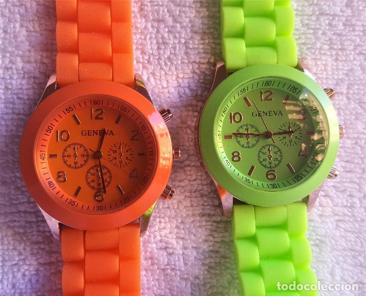 Relojes: PAREJA RELOJES GENEVA - BANDA DE GOMA 22.CM LARGO - 3.CM DIAMETRO ESFERA SIN USO - Foto 2 - 145357618