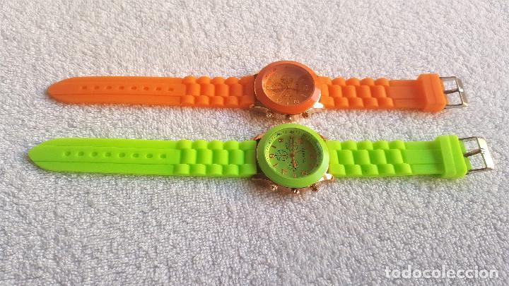 Relojes: PAREJA RELOJES GENEVA - BANDA DE GOMA 22.CM LARGO - 3.CM DIAMETRO ESFERA SIN USO - Foto 3 - 145357618
