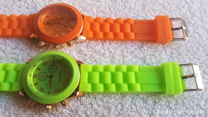 Relojes: PAREJA RELOJES GENEVA - BANDA DE GOMA 22.CM LARGO - 3.CM DIAMETRO ESFERA SIN USO - Foto 4 - 145357618