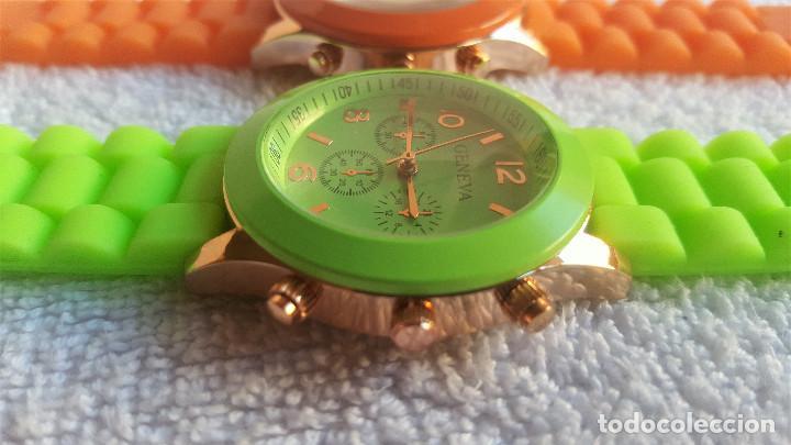Relojes: PAREJA RELOJES GENEVA - BANDA DE GOMA 22.CM LARGO - 3.CM DIAMETRO ESFERA SIN USO - Foto 5 - 145357618