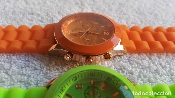 Relojes: PAREJA RELOJES GENEVA - BANDA DE GOMA 22.CM LARGO - 3.CM DIAMETRO ESFERA SIN USO - Foto 6 - 145357618