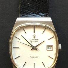 Relojes: RELOJ DE CUARZO DE LA MARCA CAUNY BY DARWIL, CON CORREA CUERO NEGRA. Lote 151928626
