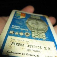 Relojes: ANTIGUO ALMANAQUE RELOJERIA JOYERIA PERERA MADRID CABALLERO GRACIA 23. Lote 154351866