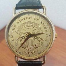 Relojes: RELOJ CABALLERO SUIZO CHAPADO DE ORO CON MONEDA EN LA ESFERA COLOR CHAMPAN, CORREA DE CUERO NEGRA . Lote 154644006