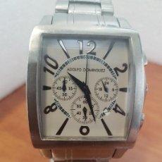 Relojes: RELOJ CABALLERO CUARZO ADOLFO DOMINGUEZ DE ACERO CON CORREA ORIGINAL DE ACERO, ESFERA GRIS, CALENDAR. Lote 154701746