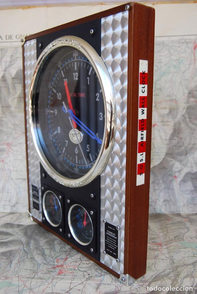 RELOJ CONMEMORATIVO DE LA COLECCIÓN S.O.S.L. AIREFIELD WALL CLOCK A SPIRIT DE ST LOUIS. FUNCIONANDO (Relojes - Relojes Actuales - Otros)