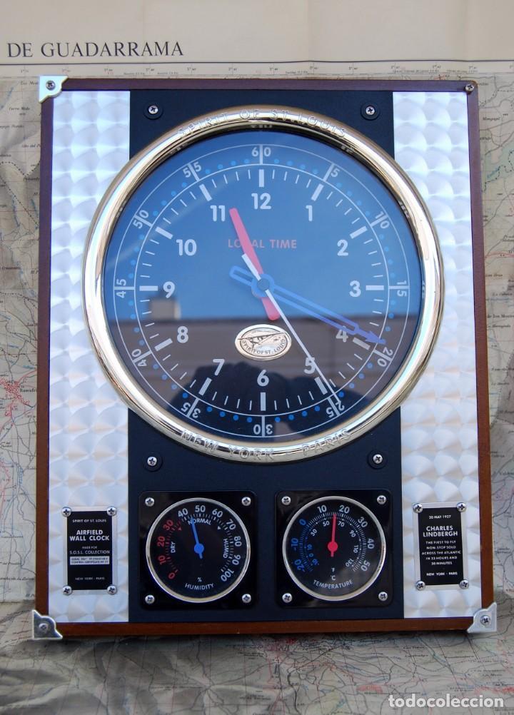 Relojes: RELOJ CONMEMORATIVO DE LA COLECCIÓN S.O.S.L. AIREFIELD WALL CLOCK A SPIRIT DE ST LOUIS. FUNCIONANDO - Foto 4 - 218569361