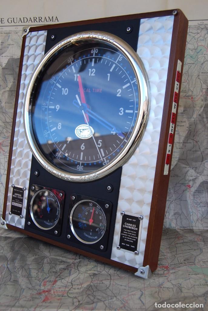 Relojes: RELOJ CONMEMORATIVO DE LA COLECCIÓN S.O.S.L. AIREFIELD WALL CLOCK A SPIRIT DE ST LOUIS. FUNCIONANDO - Foto 5 - 218569361