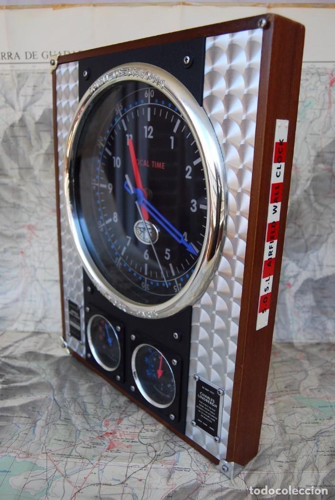Relojes: RELOJ CONMEMORATIVO DE LA COLECCIÓN S.O.S.L. AIREFIELD WALL CLOCK A SPIRIT DE ST LOUIS. FUNCIONANDO - Foto 22 - 218569361