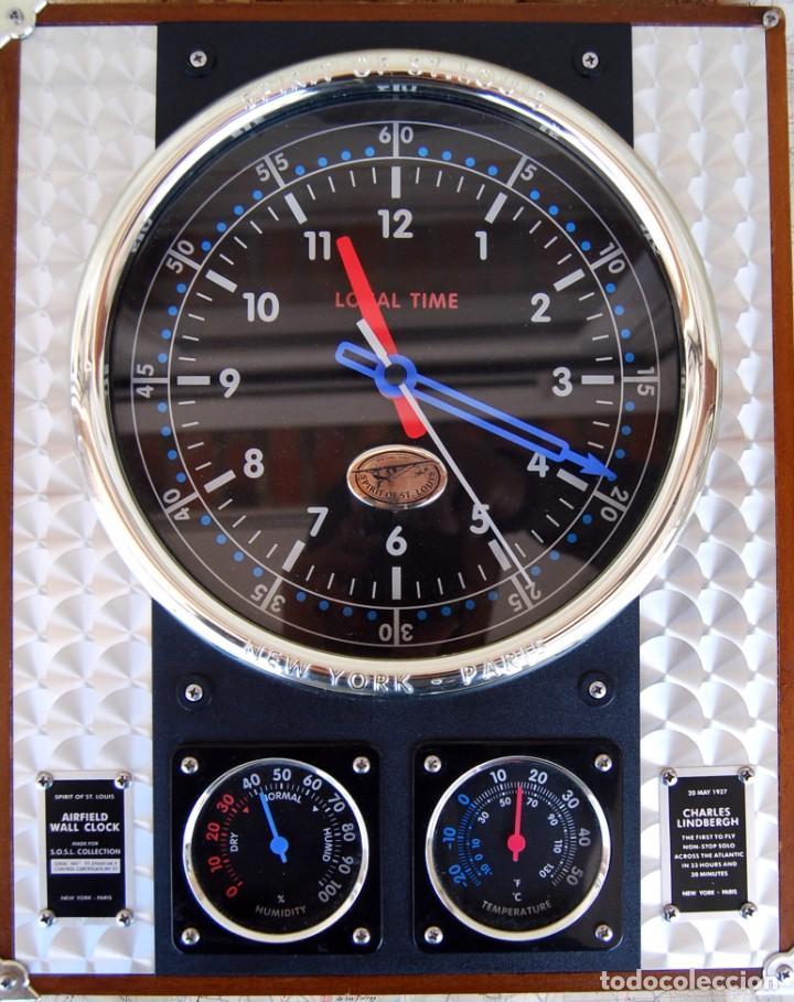 Relojes: RELOJ CONMEMORATIVO DE LA COLECCIÓN S.O.S.L. AIREFIELD WALL CLOCK A SPIRIT DE ST LOUIS. FUNCIONANDO - Foto 2 - 218569361
