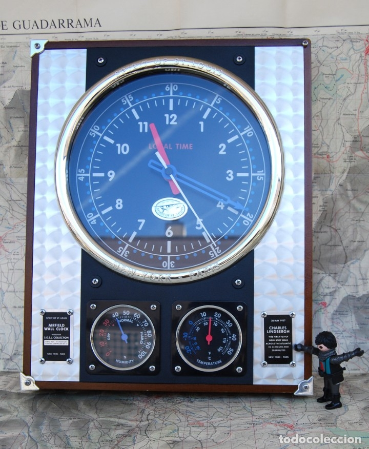 Relojes: RELOJ CONMEMORATIVO DE LA COLECCIÓN S.O.S.L. AIREFIELD WALL CLOCK A SPIRIT DE ST LOUIS. FUNCIONANDO - Foto 26 - 218569361