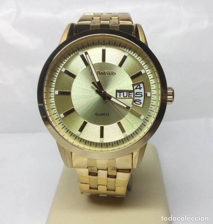RELOJ DUWARD CHAPADO EN ORO, CORREA DUWARD ORIGINAL - CAJA 42 CM - FUNCIONANDO (Relojes - Relojes Actuales - Otros)