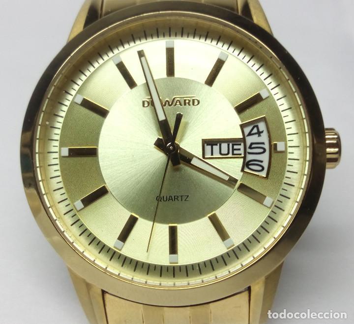 Relojes: RELOJ DUWARD CHAPADO EN ORO, CORREA DUWARD ORIGINAL - CAJA 42 cm - FUNCIONANDO - Foto 2 - 156250510