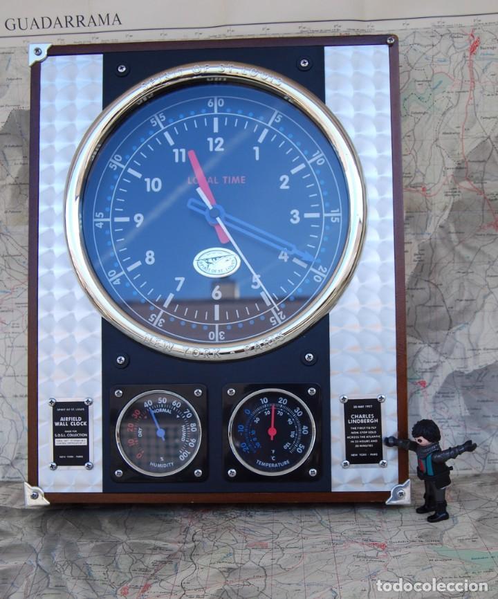 Relojes: RELOJ CONMEMORATIVO DE LA COLECCIÓN S.O.S.L. AIREFIELD WALL CLOCK A SPIRIT DE ST LOUIS. FUNCIONANDO - Foto 3 - 218569361