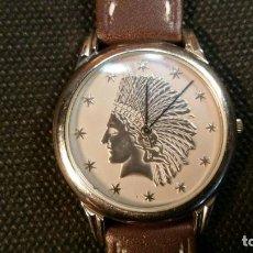 Relojes: RELOJ SWISS QUARTZ MONEDA DOLAR INDIO, CORREA NUEVA. Lote 159759178