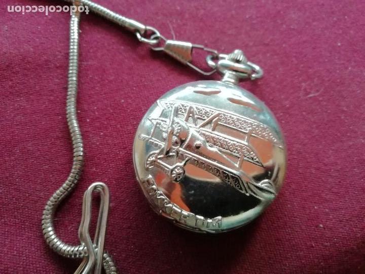 Relojes: Reloj de bolsillo con cadena. Sistema Quartz. Aeroplano Fokker. 2 tapas - Foto 2 - 159790566