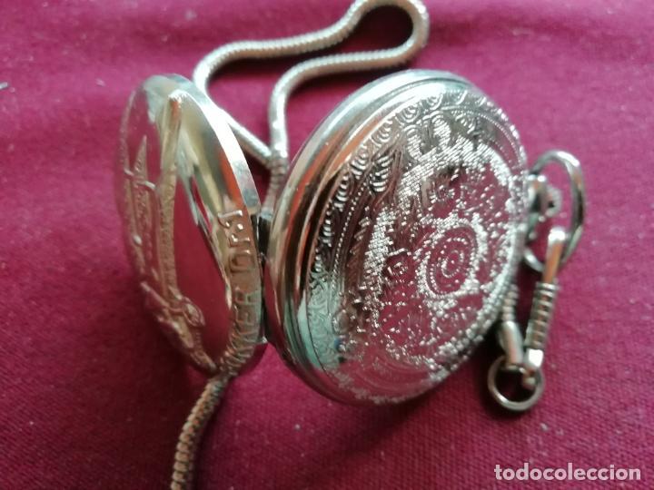 Relojes: Reloj de bolsillo con cadena. Sistema Quartz. Aeroplano Fokker. 2 tapas - Foto 4 - 159790566